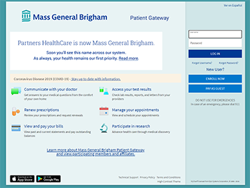 Patient Gateway login screen