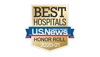 Logo for U.S. News & World Report Best Hospitals Honor Roll 2020-21
